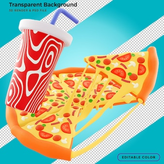 Slice of pizza with stringy cheese and splashing sauce in 3d illustration