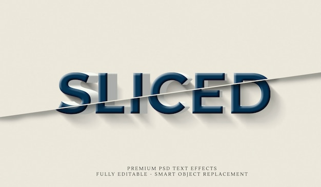 Sliced 3d text style effect psd