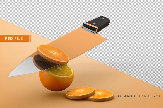スライスしたオレンジとオレンジ全体をナイフでカット