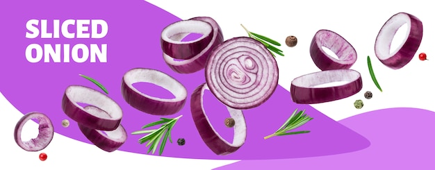 Sliced red onion rings banner