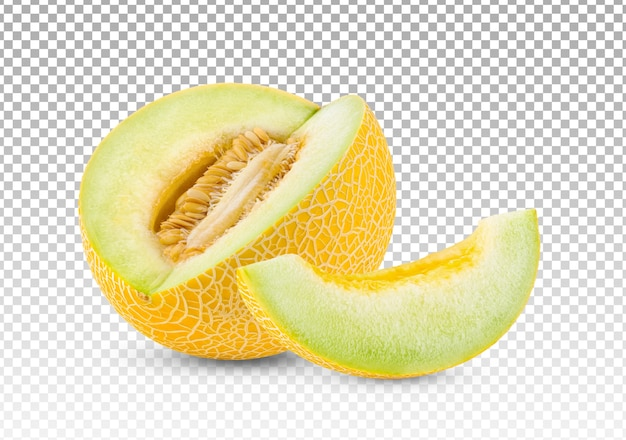 Sliced ripe melon isolated