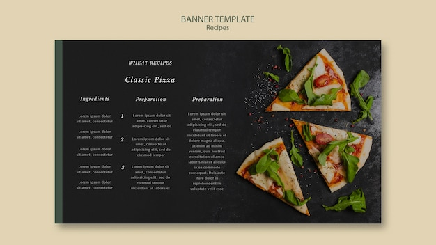 Slices of pizza banner web template