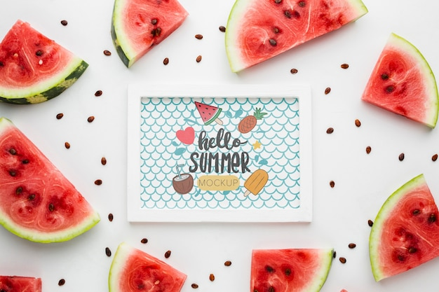 Slices of watermelon with seeds summer mock-up