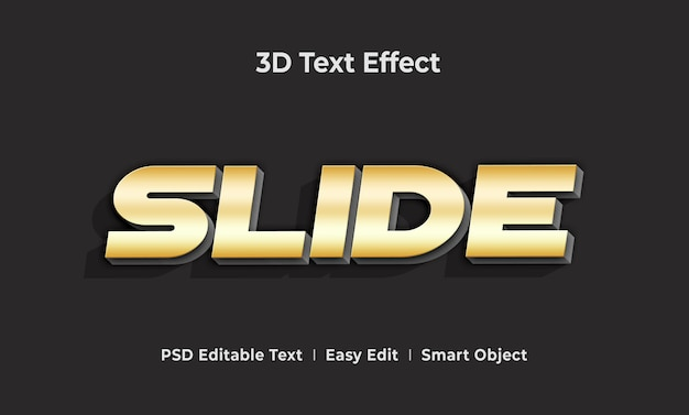 Slide 3d text style effect template