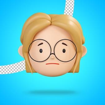眼鏡をかけた女の子のキャラクターの悲しい絵文字の少ししかめっ面3dレンダリング