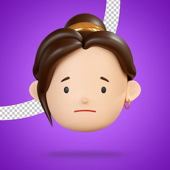 Slightly frowning face for sad emoji of woman character 3d rendering
