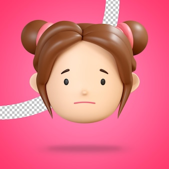 Slightly frowning face for sad emoticon of cute girl character 3d rendering