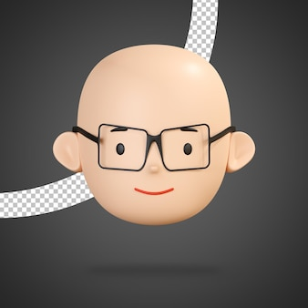 Slightly smiling face of boy character with glasses 3d rendering isolated