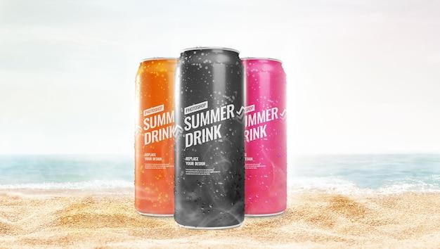 Slim может макет рекламы на пляже