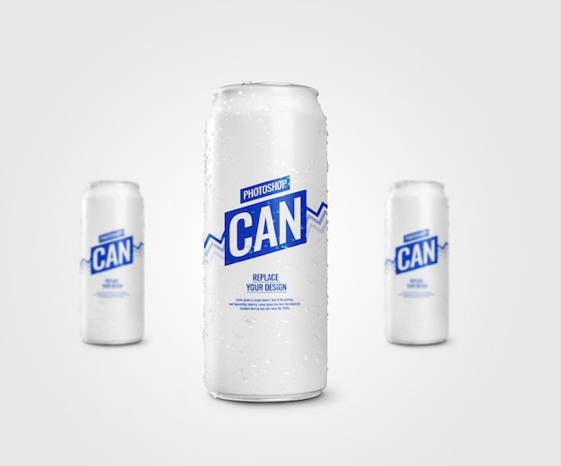 Slim soda can drinking mockup