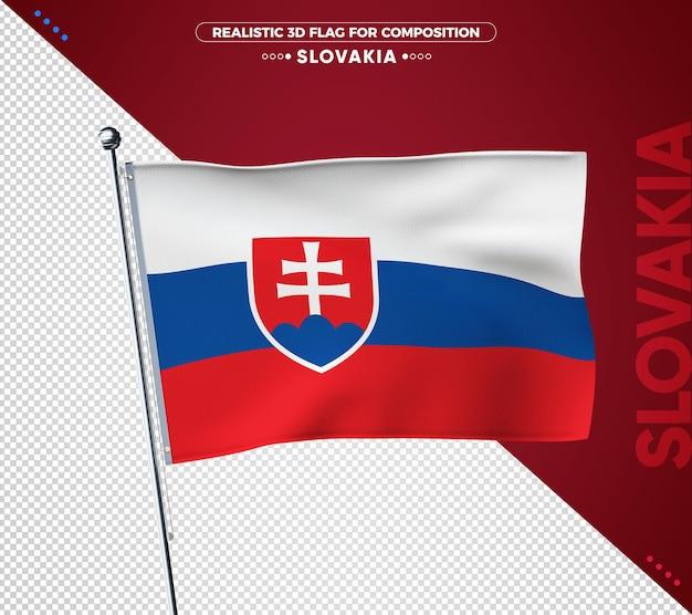 슬로바키아 구성에 대 한 3d 질감 된 플래그