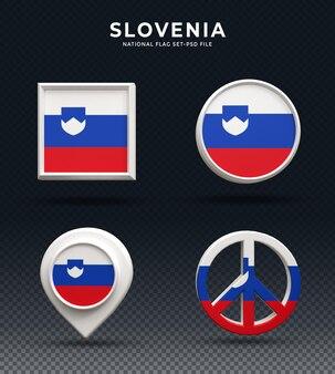 Словения флаг 3d рендеринга кнопка купола и на глянцевой основе
