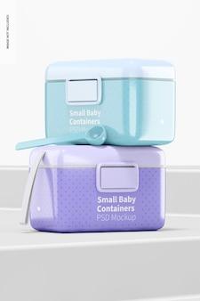 Mockup di contenitore per latte in polvere per bambini piccolo, prospettiva