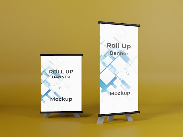 Small and big rollup banner mockup for business