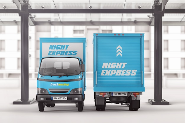 Small box truck front and back view mockup
