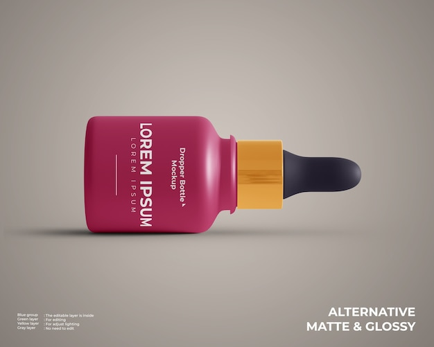 Small dropper bottle mockup lay down isolated
