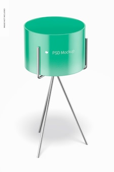 Small flower pot with metal stand mockup