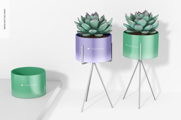 金属製のスタンドのモックアップ、展望付きの小さな植木鉢