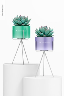 Small flower pots with metal stands mockup
