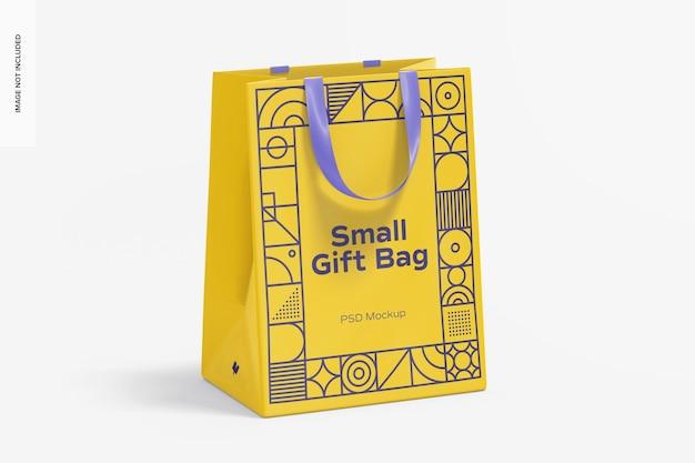 Маленькая подарочная сумка с макетом ручки-ленты, вид спереди