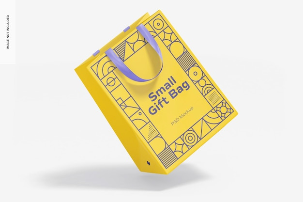 Маленькая подарочная сумка с ручкой-лентой, макет