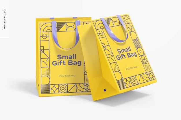 Small gift bags with ribbon handle mockup