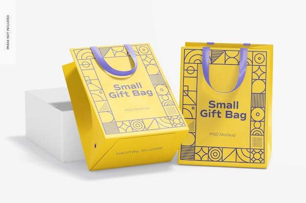 Небольшие подарочные пакеты с ленточной ручкой, макет