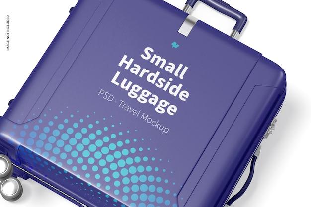 Small hardside luggage mockup, close up