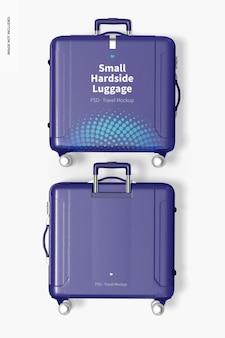Small hardside luggage mockup, top view