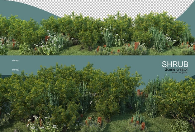 Small landscaping display renderigng isolated