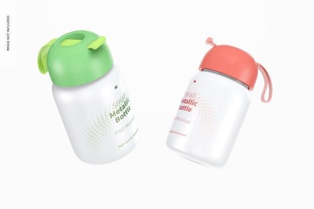 Mockup di piccole bottiglie metalliche, galleggianti