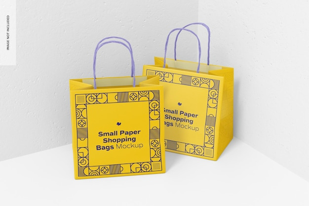 Small paper shopping bags mockup, perspective