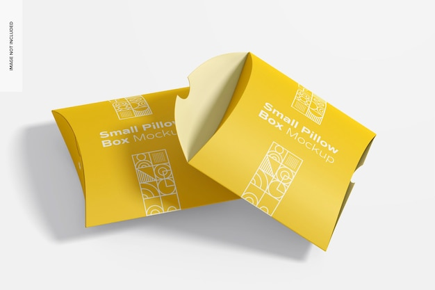 Small pillow boxes mockup, opened and closed