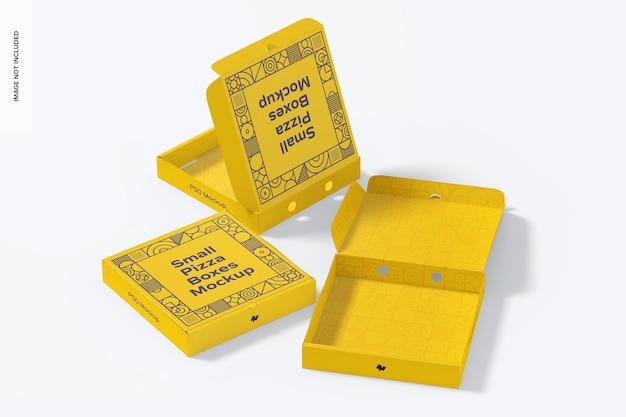 작은 피자 상자 세트 목업