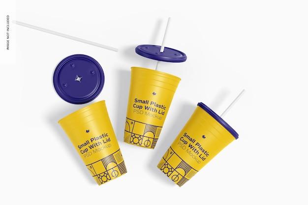 Маленький пластиковый стаканчик с крышкой, макет, вид сверху