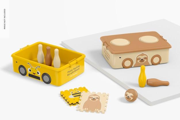 車輪とおもちゃのモックアップ付きの小さなプラスチック製のスタッキングビン