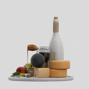 Small table with provolone wine olives apple honey 3d render