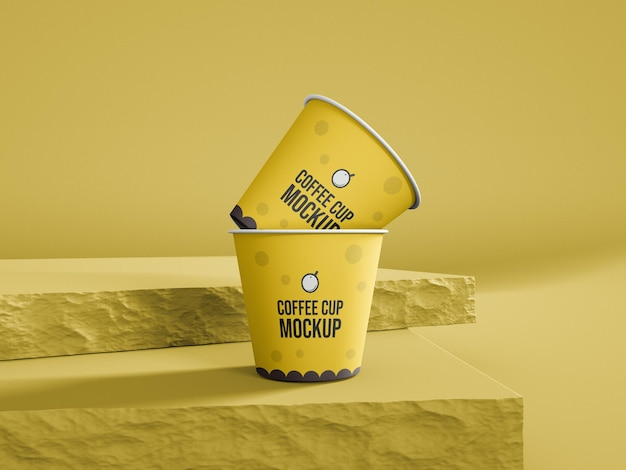 Small tea and coffee paper cup mockup one time cup