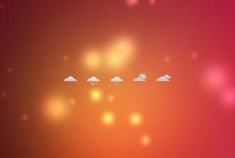 Small weather icons on blurred background