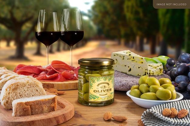 Small whole olives jar mockup design