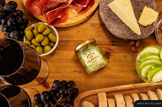 Small whole olives jar mockup on table