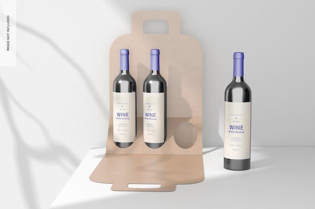 작은 와인 병 종이 상자 모형, 전면 보기