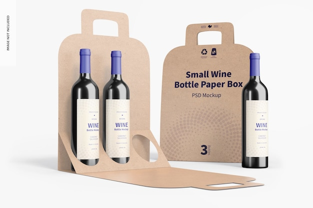 Small wine bottle paper boxes mockup