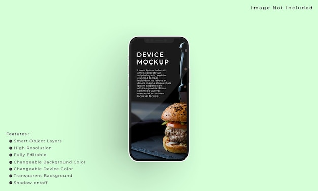 Смартфон и макет экрана для презентации интерфейса приложения
