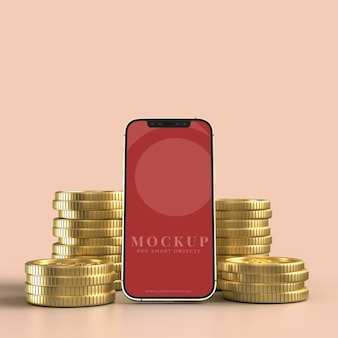 Smart phone and golden coin