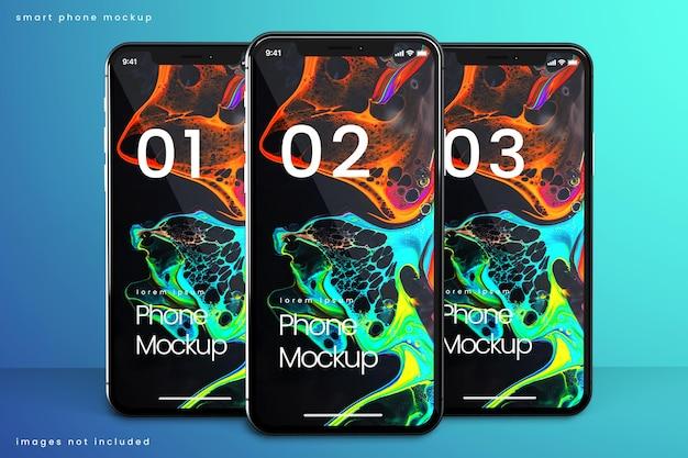 3台の電話のスマートフォンモックアップ Premium Psd