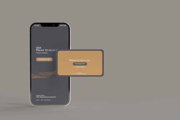 Smart phone mockup with business cards