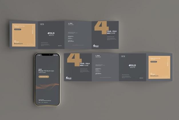 Мокап смартфона с брошюрой, сложенной в четыре раза
