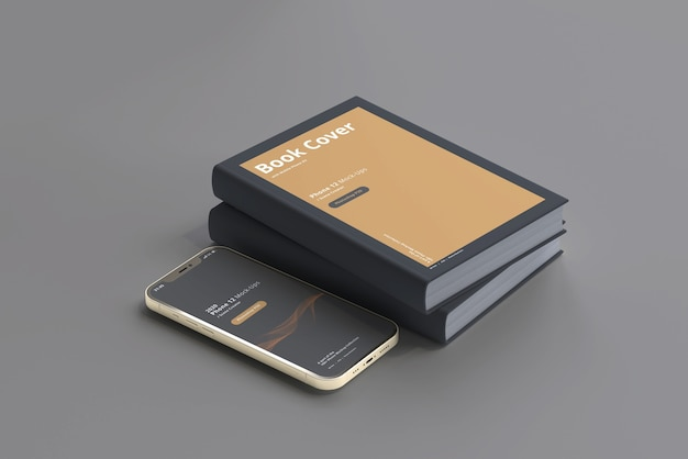 Smart phone mockup with hard cover book Premium Psd