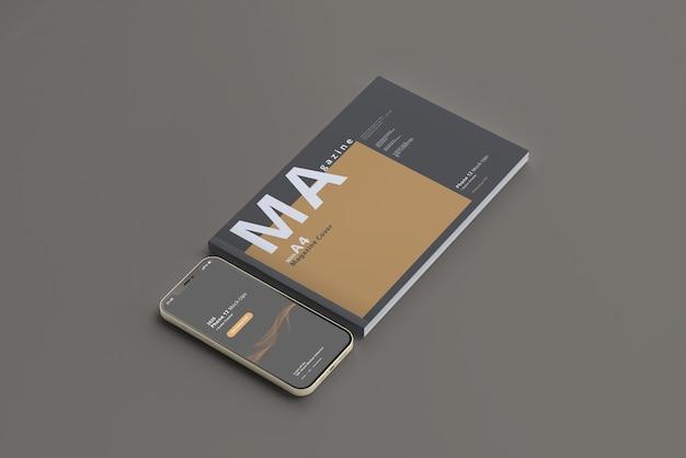 Мокап смартфона с горизонтальным журналом